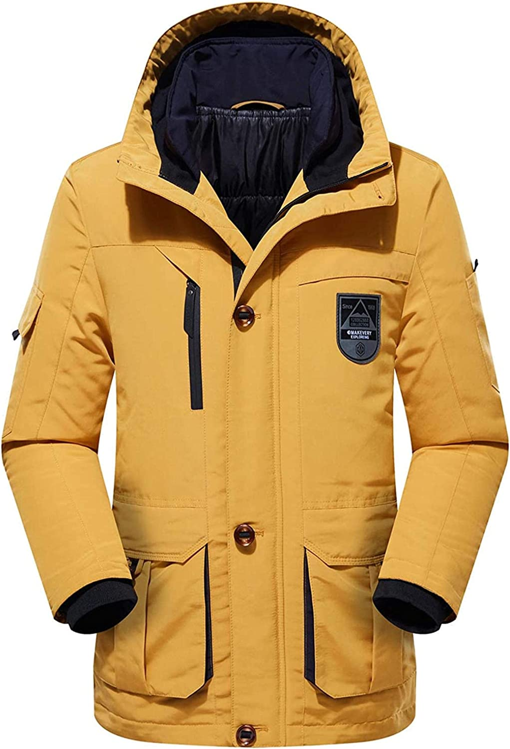 Men's Winter Thicken Padded Zip Insulated Sports Down Alternative Hooded Parka Jacket