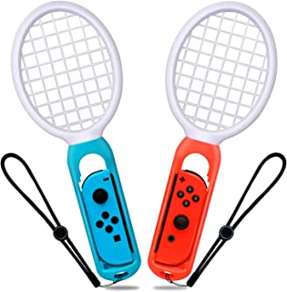 JPSTAR マリオテニス エース 専用 2個セット 臨場感抜群 落下防止ストラップ付き 軽量ABS製 高感度 快適な使用感 精確対応 Nintendo Switch Joy-Con用 テニスゲームラケット