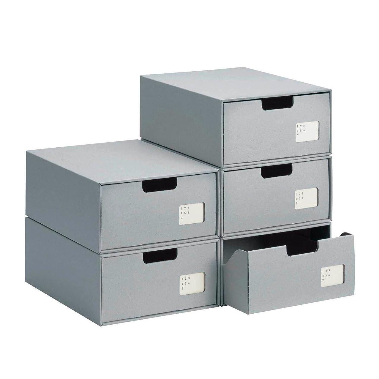 レイア二次義務的[ベルメゾン] インデックス付き クラフト シューズ 収納 ボックス 5個 セット 日本製 グレー