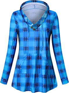 Viracy Women's V Neck Pullover Sweatshirt Casual Tunic Hoodies with Pockets