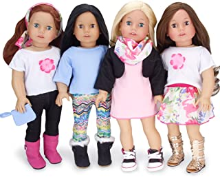 Sophia's 18 Inch Doll Sized Mix and Match Spring Set Blue and Pink Doll Clothes, Complete Wardrobe with 9 Pieces   Budget Friendly Line