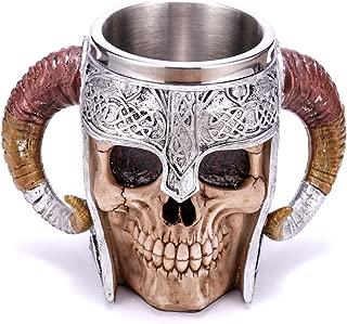 Stainless Steel Double Handle Horn Skull Beer Cup, Viking Warrior Skull Mug Tankard,..