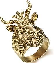 SAINTHERO Men's Vintage Gothic Ring Stainless Steel Gold Tone Satan Worship Baphomet Ram Aries Zodiac Sheep Goat Head Horn Biker Rings Size 7-15