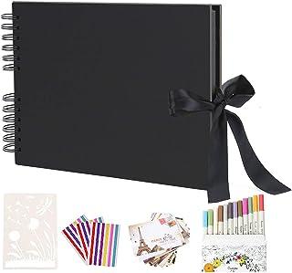 AIOR Album Photo Traditionnel DIY Scrapbook Adhesif 40 Feuilles (80 Pages), Scrapbooking Album Mariage Livre d'or Idee Cad...