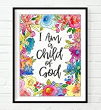 Floral, I Am A Child of God, Galatians 3:26, Christian Art Print, Unframed, Vintage Bible Verse Scripture Wall Decor Poster, Inspirational Gift, 8x10 Inches