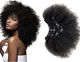 Afro Kinky Curly Clip in Human Remy Hair Extensions Brazilian Curly Clips Hair Extensions 4B 4C 8A Virgin Thick Natural Black Color Clip on For Black Women 16 inch