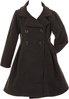 Girls Dress Coat Long Sleeve Button Pocket Long Winter Coat Outerwear 2-14