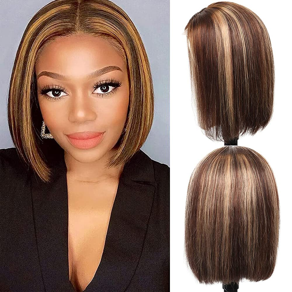 Philadelphia Mall Short Bob Tucson Mall Lace Front Wigs Human Ombre Blonde Highlig Hair 13x4x1