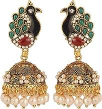 Efulgenz Boho Vintage Antique Ethnic Gypsy Tribal Indian Oxidized Gold Pearl Tassel Peacock Jhumka Dangle Earrings Jewelry