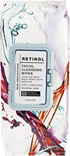 Body Prescriptions Retinol Wipes, Facial Cleansing and Gentle Make Up Remover Wipes – Flip Top, Single Pack (60 Wipes)