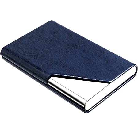 Business Card Holder V-Red Business Card Case Luxury PU Leather /& Stainless Steel Multi Card Case,Business Card Holder Wallet Credit Card ID Case//Holder for Men /& Women.