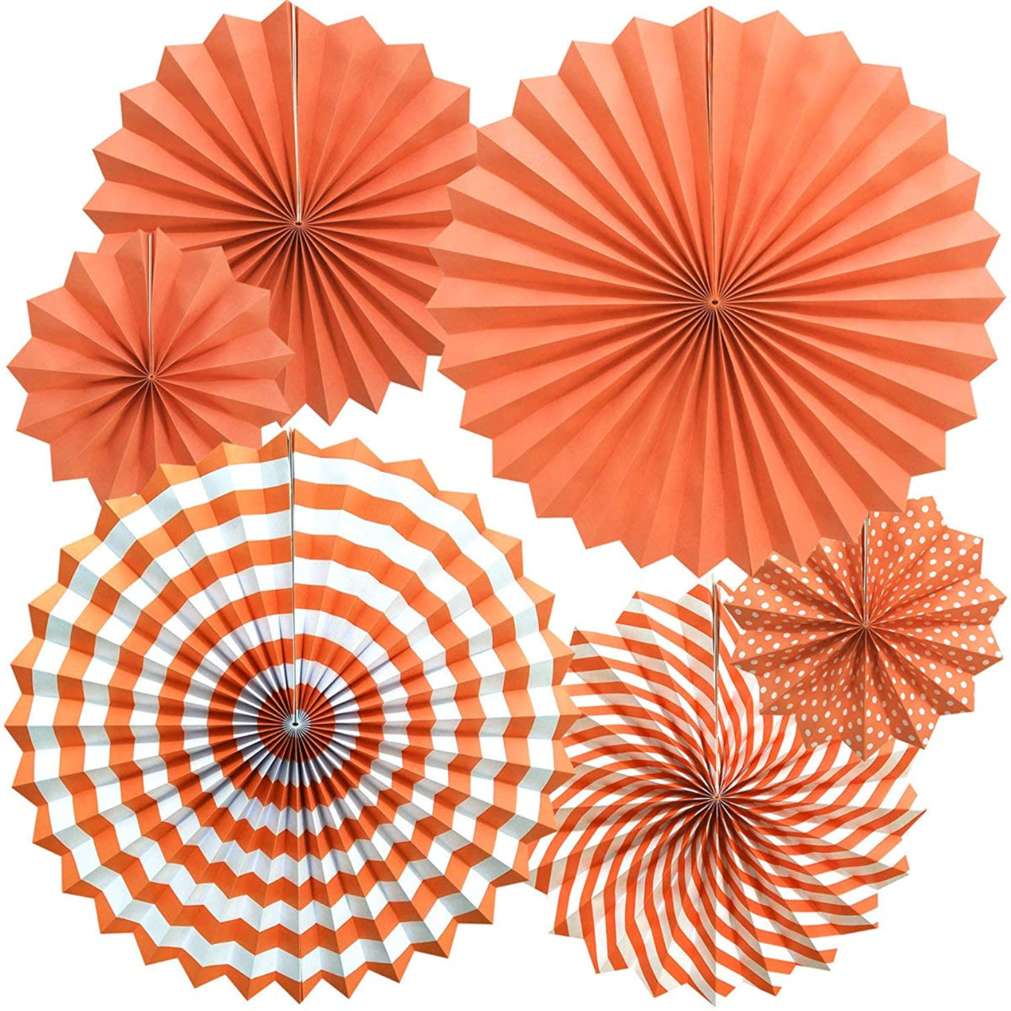 Zolee Hanging Paper Fans Decorations Kit for Wall - Set of 6 Circle Rosettes Tissue Paper Fans Bulk for Party Favors, Wedding, Birthday, Festival, Christmas, Events, Home Decor (Orange)