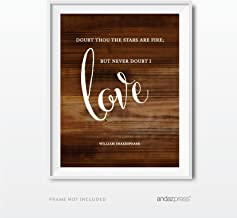 Andaz Press Wedding Love Quote Wall Art, Rustic Wood Print, 8.5x11-inch Poster, Gift, Sign, Doubt Thou The Stars are fire; But Never Doubt I Love. William Shakespeare, Hamlet Quote, 1-Pack