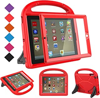 BMOUO Kids Case for iPad 2 3 4 (Old Model) - Shockproof Convertible Handle Stand Kids Case with Built-in Screen Protector for iPad 2nd 3rd 4th Generation (Red)