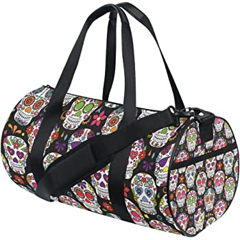 AHOMY Skull Sports Gym Bag with Shoes Compartment Travel Duffel Bag