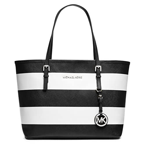 Michael Kors Jet Set Small MacBook Travel Tote Handbag (White Black) 1cce96c23