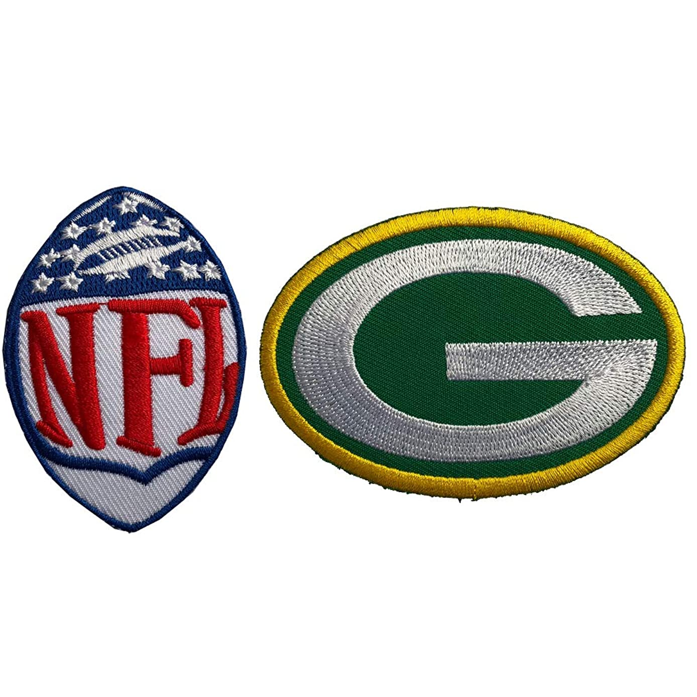 Hipatch Green Bay Packers Embroidered Patch Iron on Logo Vest Jacket Cap Hoodie Backpack Patch Iron On/sew on Patch Set of 2Pcs