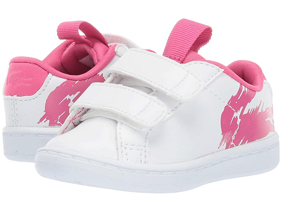 Lacoste Kids Carnaby Evo (Toddler/Little Kid) (White/Dark Pink) Girl