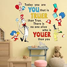 Supzone Dr Seuss Wall Decals Quotes Saying Today You are You Kids Wall Stickers for Baby Nursery Bedroom Playroom Classroo...