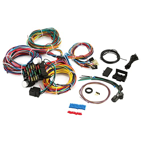 bestequip 21 circuit wiring harness 17 fuses universal 21 standard color wiring  harness xl wires for