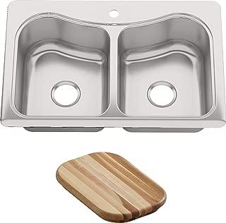 KOHLER K-3369-1-NA Staccato Double-Basin Self-Rimming Kitchen Sink, Stainless Steel