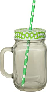 480 ml Mason Jar Avec Poignée Et Paille dans boîte à Boire Bocal en verre couvercle vert