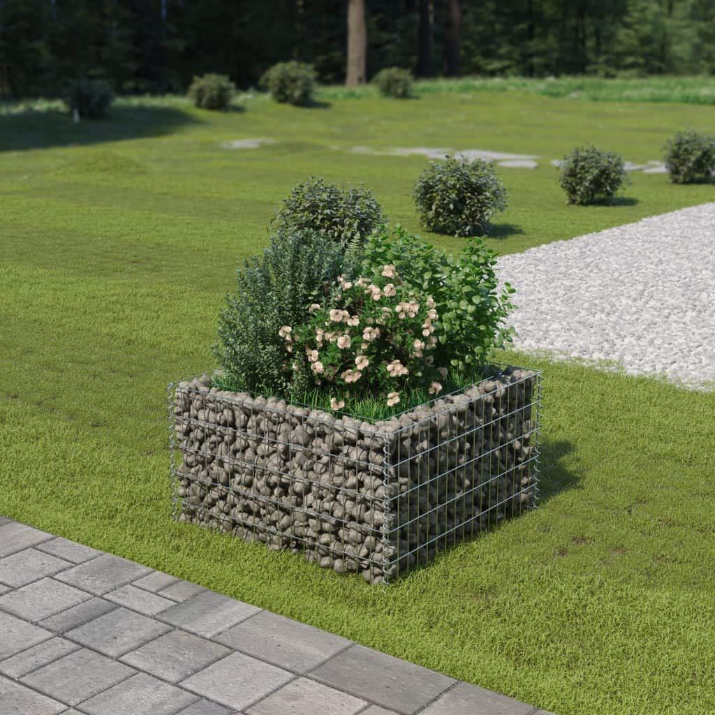 Tidyard Jardinera de Gaviones de Acero de Óxido Resistente a la Intemperie para Jardin o Patio Exterior 90x90x50 cm Cromado: Amazon.es: Hogar