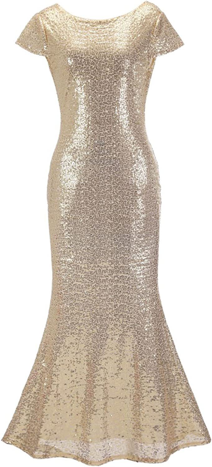 Mejorme Women Jewel Maxi Sequin Dress Backless Mermaid Bodycon Party Dresses