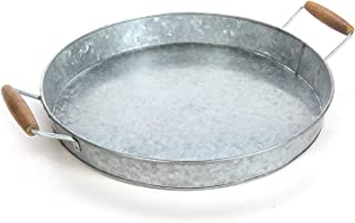 Gathery Galvanized Round Tray w/Wooden Handles for Home, Office, Party, Wedding, Spa, Serving (Original)