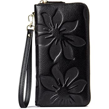BOSTANTEN Women Leather Wallets Large Capacity Zip Around Credit Card Holder Clutch Purses with Wristlet Strap Black