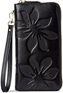 BOSTANTEN Women's RFID Blocking Leather Wallets Credit Card Cash Holder Clutch Wristlet Black