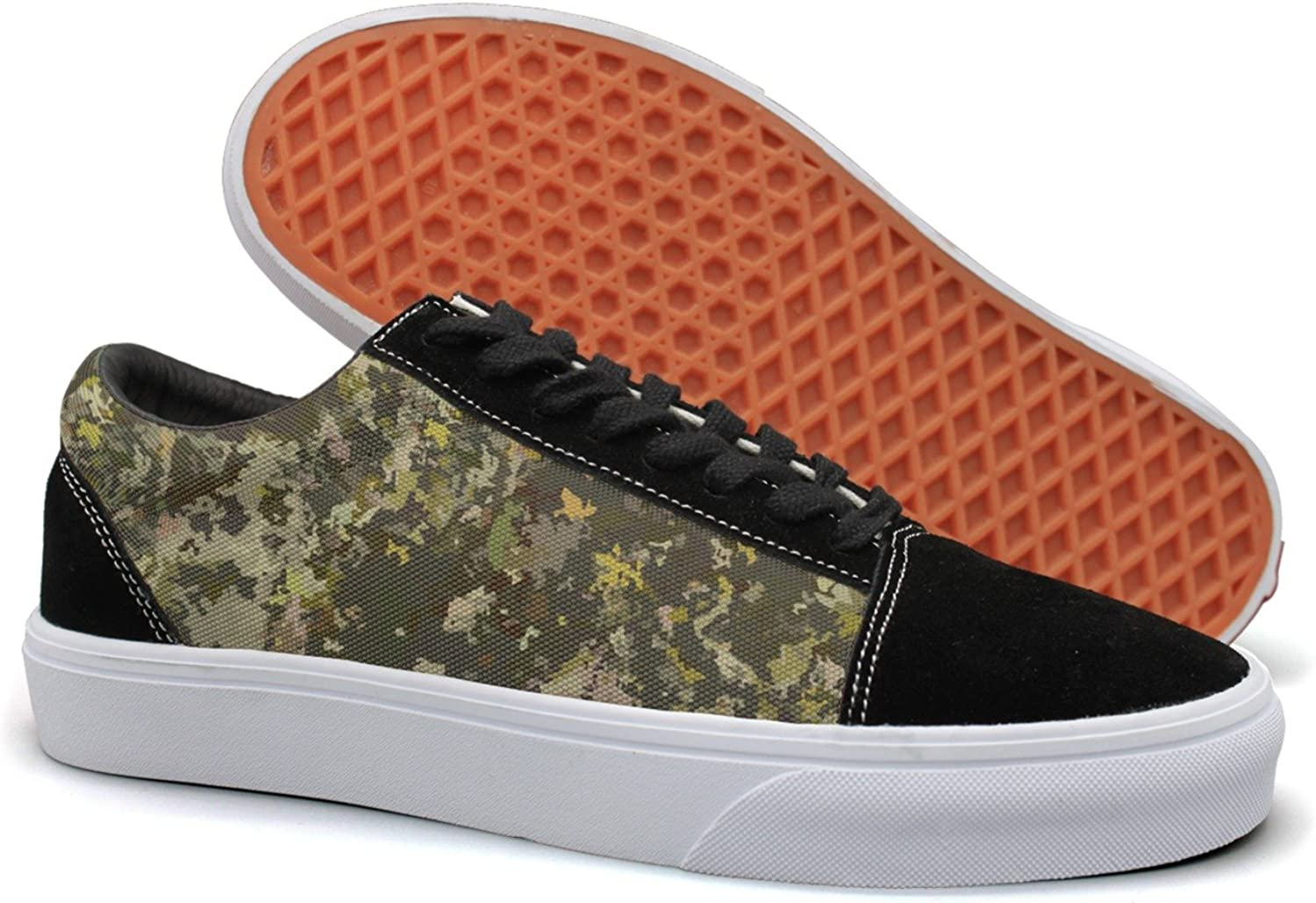 Feenfling Turkey Hunting Camouflage Womens Navy Suede Canvas Tennis shoes Low Top Running shoes
