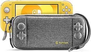 Nintendo Switch Lite用 薄型 ケース、tomtoc オリジナル スリム キャリングケース 任天堂スイッチライト、 8枚ゲームカード収納 バッグ 全面保護 耐衝撃 ハンドストラップ付き 持ち運び便利、グレー