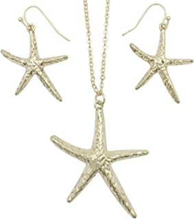 Gypsy Jewels Starfish Simple Textured Sealife Nautical Boutique Statement Necklace & Dangle Earrings Set
