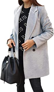 Womens Winter 2 Button Lapel Wool Blend Pea Coat Trench Coat