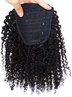 ZigZag Hair Afro Kinky Curly Clip-in Top Closure Ponytail Brazilian Virgin Human Hair African American Human Virgin Hair Extension 4B 4C Drawstring Puff Hairpiece (12inch, 3B 3C)