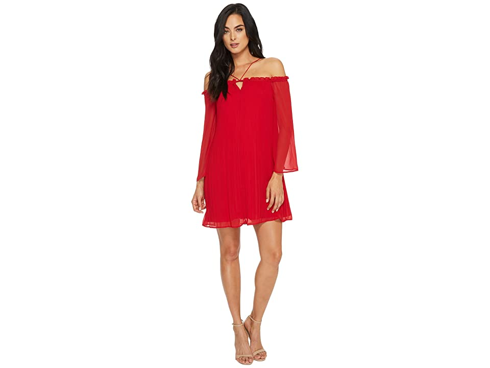 CeCe Ella Off Shoulder Pleated Dress (Crimson) Women