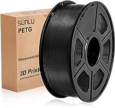 SUNLU PETG Filamento 3D 1.75mm 1KG (2.2lb), Filamento de impresora PETG 3D, Precisión dimensional +/- 0.02 mm, 1 kg Carrete, 1.75 mm, PETG negro