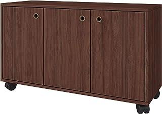 خزانة منظمة من بي ار في موفيز بثلاث أبواب، لون بني داكن - ارتفاع 53.5 سم × عرض 90 سم × عمق 33 سم، من خشب مضغوط متوسط الكثافة