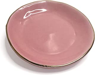 ELBY Pink Ceramic Jewelry Dish with Gold Rim | Circle Trinket Tray Home Decor I Soap Dish I Wedding Birthday Gift for Her Desk Organizer Ring Holder Gold Office Decor