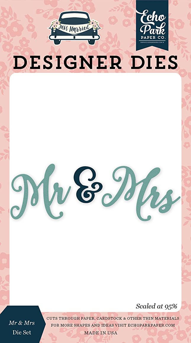 Echo Park Paper Company JM153041 Mr & Mrs Word Die Set, Navy, Pink, Coral, Cream, Teal, Gold