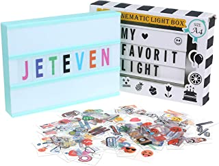 Jeteven Cinema Light Colors Box Colorful Letters Emojis LED for Home Decor Wedding Birthday Parties USB Battery Power (Whi...