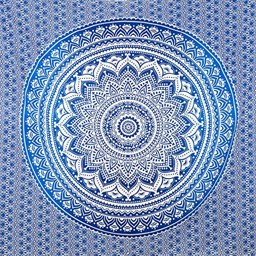 momomus Tapiz de Mandala para Pared - Ideal como Pareo, Colcha, Mantel, Alfombra de Picnic, Manta/Toalla de Playa Grande - Versátil, 100% Algodón y Tintes Vegetales - 210x230cm