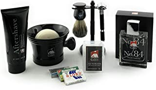 GBS Long Handle Butterfly Safety Razor Set - Pure Badger Brush, Black Matte Stand, Sandalwood Aftershave, No. 84 Cologne, Alum Block,Ceramic Bowl with GBS 3 Oz Shaving Soap +15 Blades