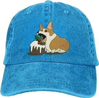 ONE-HEART HR Christmas Corgi Adult Cowboy Baseball Caps Denim Hats for Men Women