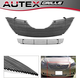 AUTEX Polished Aluminum Horizontal Billet Grille Combo Compatible with Toyota Camry 2007 2008 2009 Grill Insert T87840A