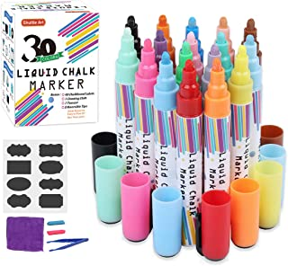 Liquid Chalk Markers,30 Colors Shuttle Art Erasable Chalk Pens with 48 Chalkboard Labels,1 Cleaning Cloth,1 Tweezer and 2 Reversible 6mm Bullet and Chisel Tips for Chalkboard,Blackboard,Window,Glass
