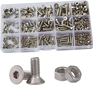 Flat Hex Socket Head Cap Screws Metric Thread Hexagon Allen Drive Countersunk Machine Bolts Nuts Standard Fastener Hardware Assortment Kit Set 440pcs 304 Stainless Steel M3 M4 M5