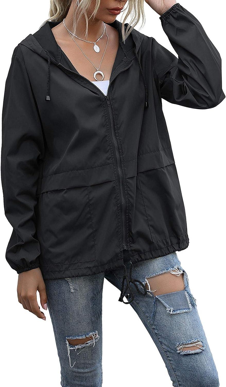 Women's Waterproof Raincoat Lightweight Rain Jacket Hooded Windbreaker With Pockets For Outdoor