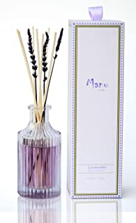 Manu Home 24 Hour Sale Lavender Reed Diffuser - Made with Real Lavender Extract and Essential Oils ~ Includes Natural Set of Sticks ~ Best Aromatherapy Diffuser ~ 6.5 oz ~Proudly Made in The USA!